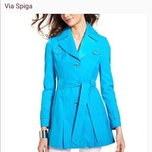 Via Spiga Turquoise Pleated Trench L NWOT